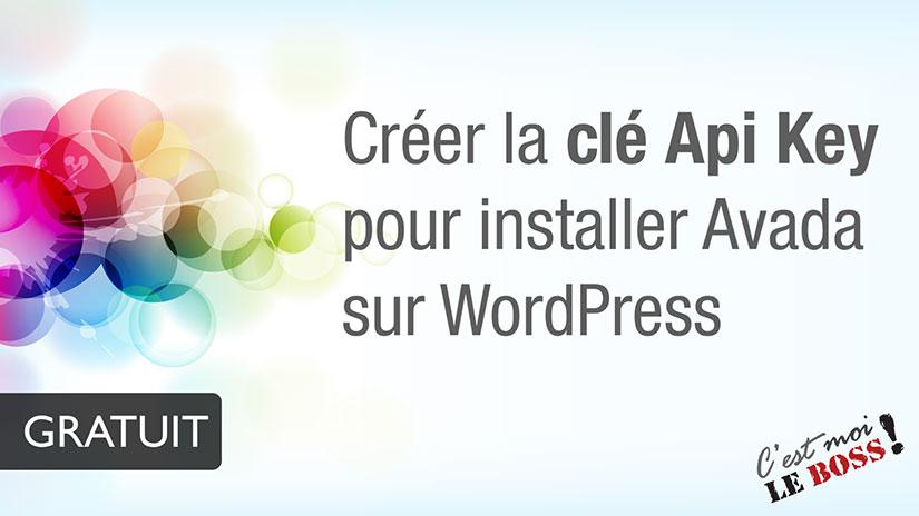 Créer la clé Api Key pour installer Avada - WordPress