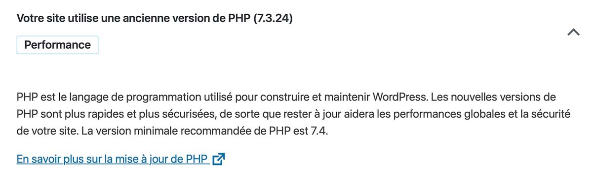 Changer la version du PHP pour WordPress