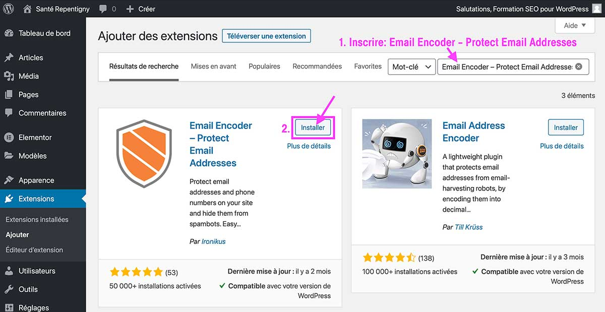 Email Encoder – Protect Email Addresses Etape 1